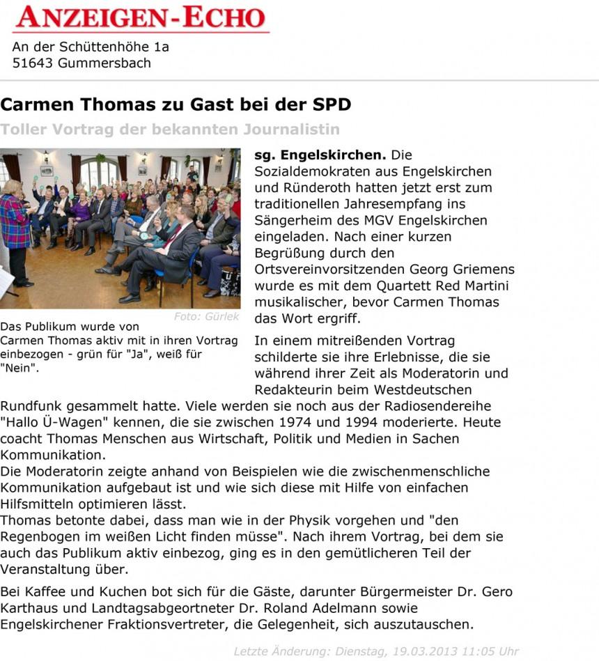 Carmen Thomas zu Gast bei der SPD - Engelskirchen - Anzeigen-Ech