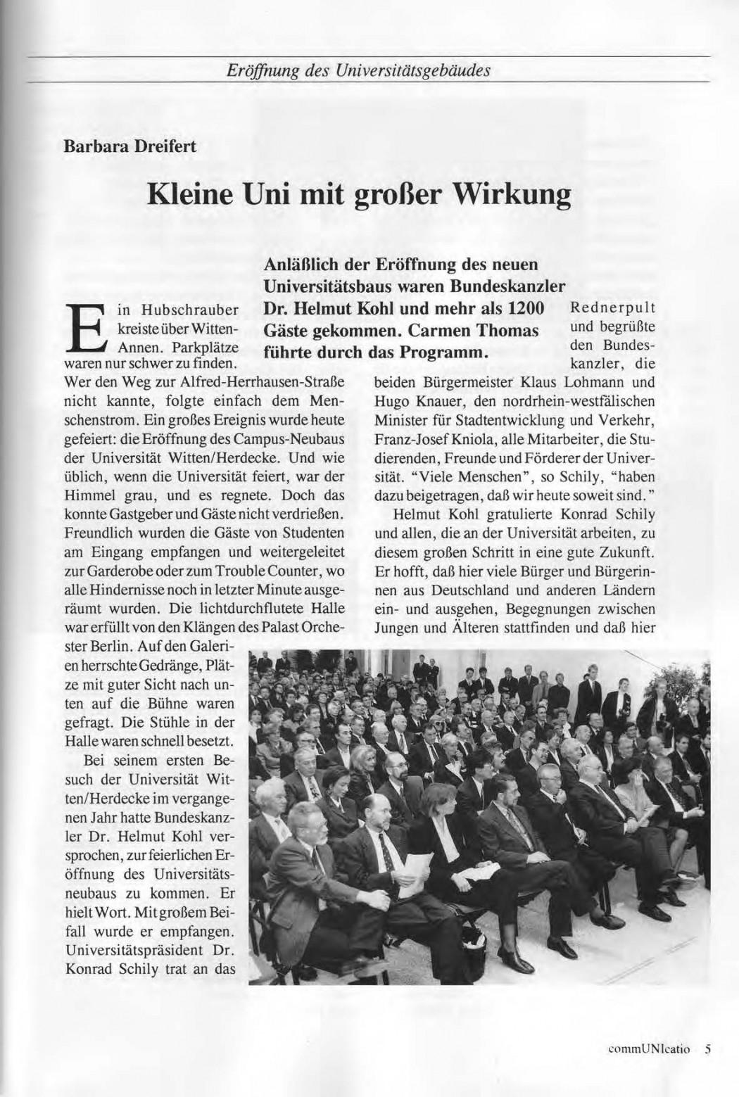 Universitaet Witten-Herdecke Dokumentation zur Eroeffnung_Seite_02