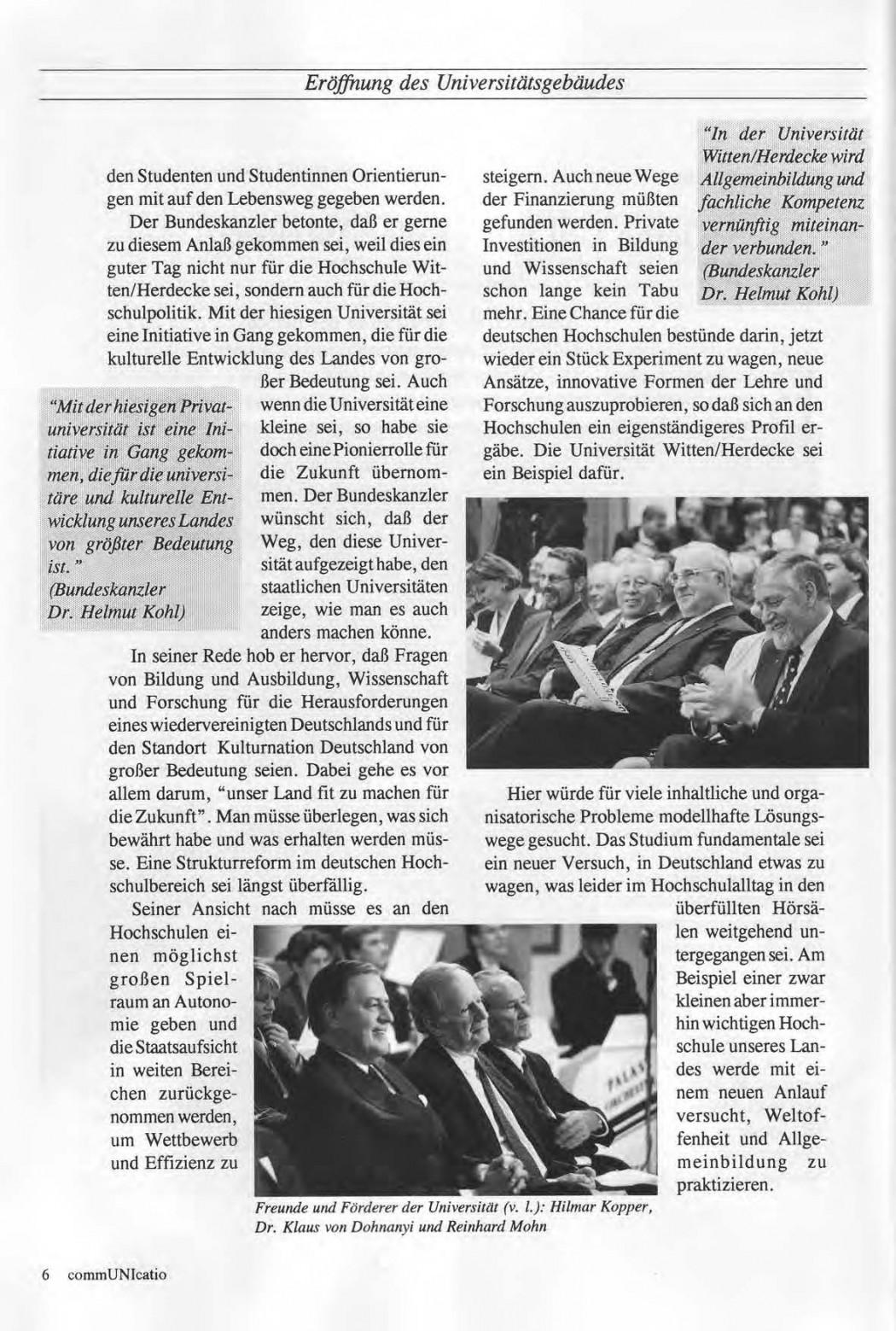 Universitaet Witten-Herdecke Dokumentation zur Eroeffnung_Seite_03