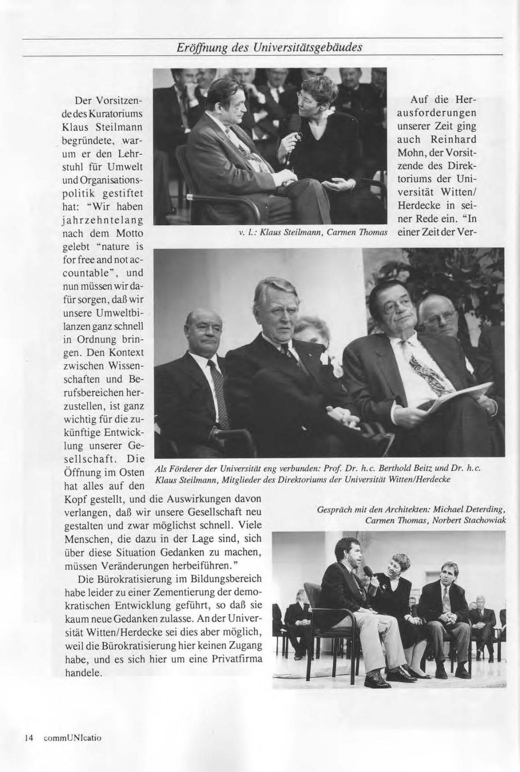 Universitaet Witten-Herdecke Dokumentation zur Eroeffnung_Seite_11