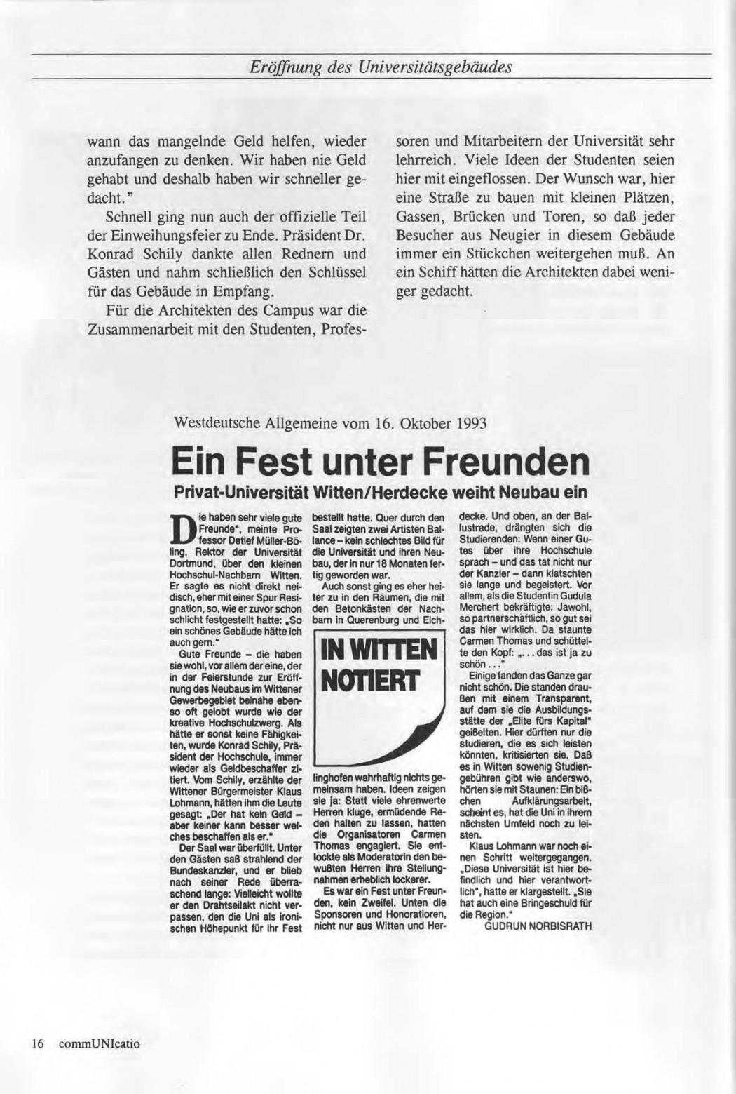 Universitaet Witten-Herdecke Dokumentation zur Eroeffnung_Seite_13