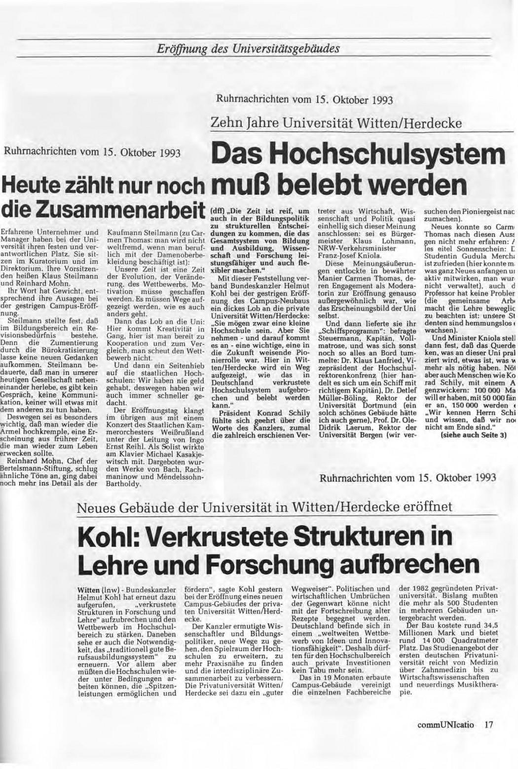 Universitaet Witten-Herdecke Dokumentation zur Eroeffnung_Seite_14