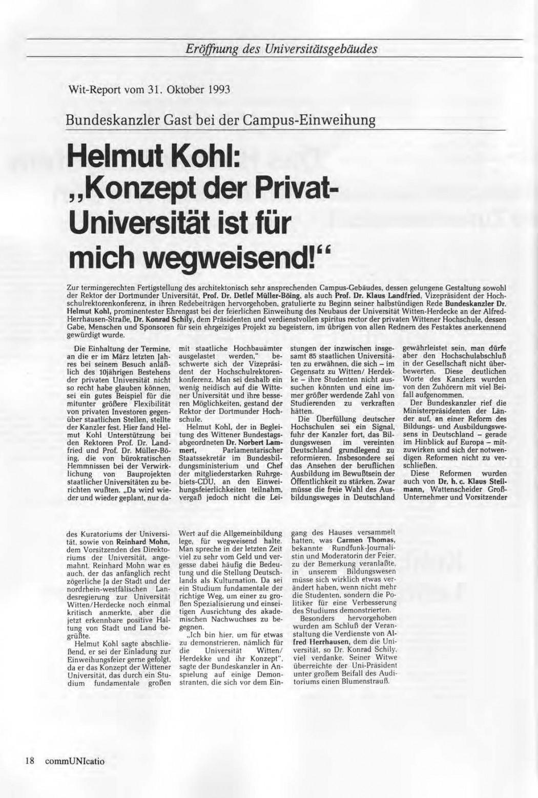 Universitaet Witten-Herdecke Dokumentation zur Eroeffnung_Seite_15