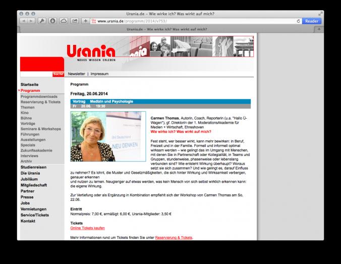 Carmen Thomas bei der Uranie Berlin Juni 2014