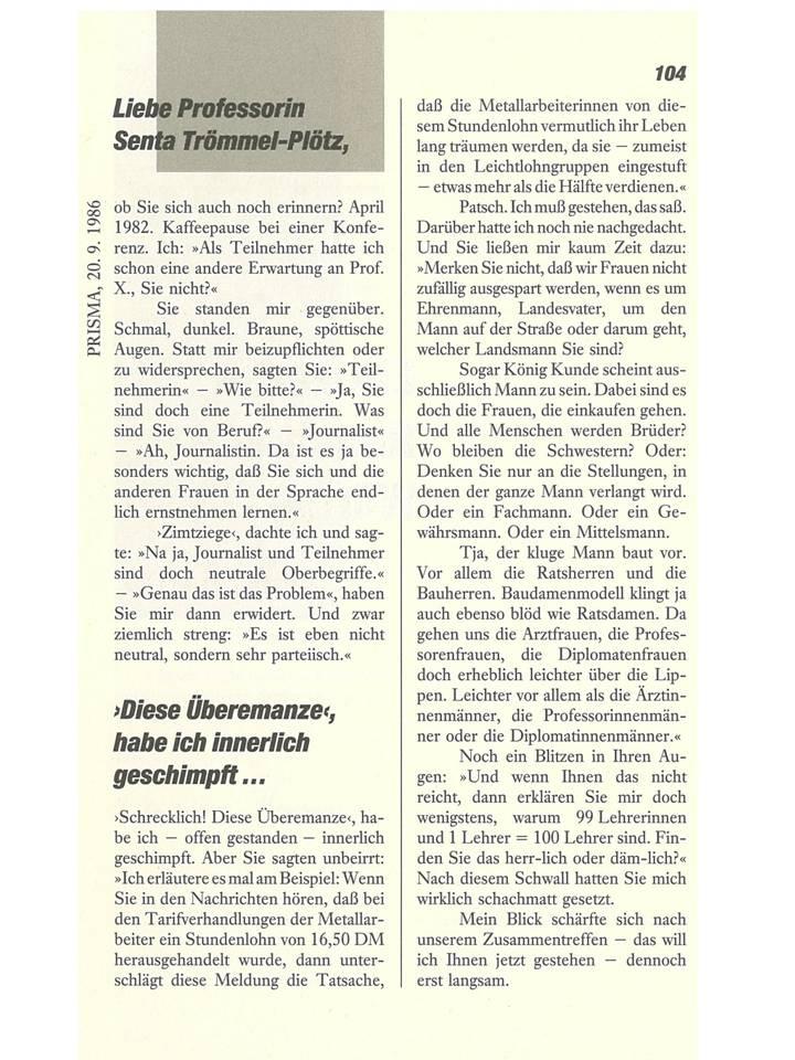 Artikel Prof. Senta Trömmel-Plötz