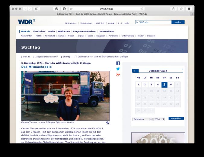 WDR2-Stichtag-Hallo-U-Wagen-141206